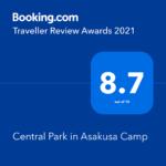 弊社運営ホテル「Central Park in Asakusa Camp」がBooking.com「Traveller Review Awards 2021」を受賞しました